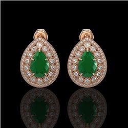 9.74 ctw Certified Emerald & Diamond Victorian Earrings 14K Rose Gold