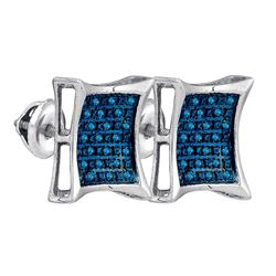 Sterling Silver Mens Round Blue Color Enhanced Diamond Square Kite Earrings 1/6 Cttw