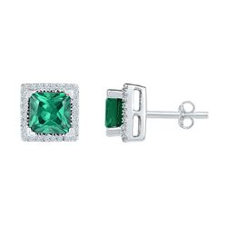 Sterling Silver Womens Princess Lab-Created Emerald Solitaire Stud Earrings 1-3/4 Cttw
