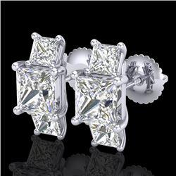 3.08 ctw Princess VS/SI Diamond Art Deco Stud Earrings 18k White Gold