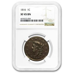 1816 Large Cent XF-45 NGC (Brown)