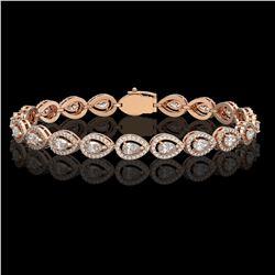 7.29 ctw Pear Cut Diamond Micro Pave Bracelet 18K Rose Gold