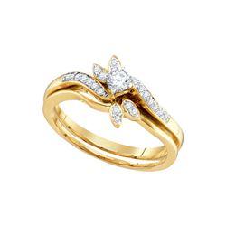 10kt Yellow Gold Womens Round Diamond Bridal Wedding Engagement Ring Band Set 1/4 Cttw
