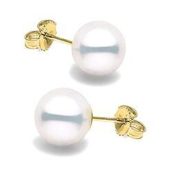 White South Sea Pearl Stud Earrings, 9.0-10.0mm