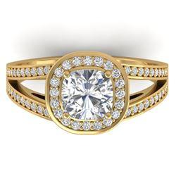 1.5 ctw Cushion Certified VS/SI Diamond Art Deco Ring 14k Yellow Gold