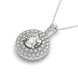 2.5 ctw Certified VS/SI Diamond Halo Necklace 14k White Gold