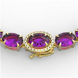 45.25 ctw Amethyst & VS/SI Diamond Micro Pave Necklace 14k Yellow Gold