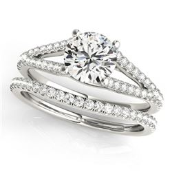 1.13 ctw Certified VS/SI Diamond 2pc Wedding Set 14k White Gold