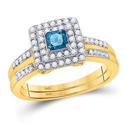 14kt Yellow Gold Womens Princess Blue Color Enhanced Diamond Bridal Wedding Ring Set 7/8 Cttw