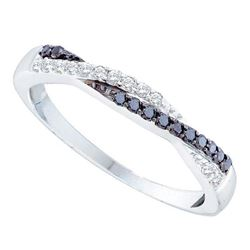 14kt White Gold Womens Round Black Color Enhanced Diamond Slender Twist Band 1/4 Cttw