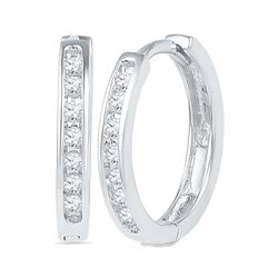 10kt White Gold Womens Round Channel-set Diamond Single Row Hoop Earrings 1/6 Cttw