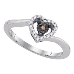Sterling Silver Womens Round Brown Diamond Heart Ring 1/10 Cttw
