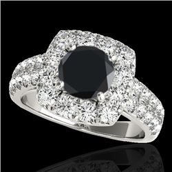 2.5 ctw Certified VS Black Diamond Solitaire Halo Ring 10k White Gold
