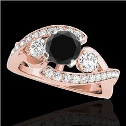 1.76 ctw Certified VS Black Diamond Bypass Solitaire Ring 10k Rose Gold