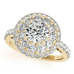 2.09 ctw Certified VS/SI Diamond Solitaire Halo Ring 14k Yellow Gold