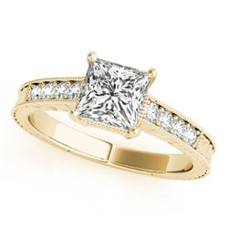 0.95 ctw Certified VS/SI Princess Diamond Antique Ring 18k Yellow Gold