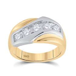 14kt Yellow Gold Mens Round Diamond 5-Stone Band Ring 1.00 Cttw