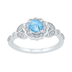 10kt White Gold Womens Round Lab-Created Blue Topaz Solitaire Flower Ring 7/8 Cttw