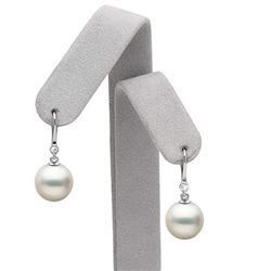 White South Sea Pearl and Diamond Bezel Dangle Earrings