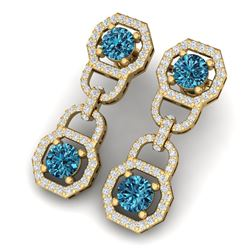 4 ctw SI/I Intense Blue Diamond Earrings 18K Yellow Gold
