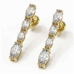 3.78 ctw Marquise Diamond Earrings 18K Yellow Gold