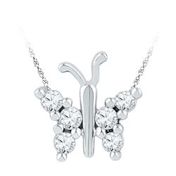 10kt White Gold Womens Round Diamond Small Butterfly Bug Insect Unique Pendant 1/5 Cttw