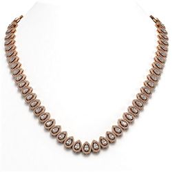 28.47 ctw Pear Cut Diamond Micro Pave Necklace 18K Rose Gold
