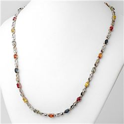 9.02 ctw Multi-Sapphire & Diamond Necklace 10k White Gold