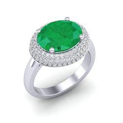 4.50 ctw Emerald & Micro Pave VS/SI Diamond Ring 18k White Gold