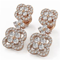 2.09 ctw Diamond Designer Earrings 18K Rose Gold