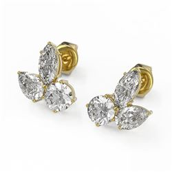 2.75 ctw Mix Cut Diamond Designer Earrings 18K Yellow Gold