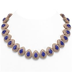 121.42 ctw Sapphire & Diamond Victorian Necklace 14K Rose Gold
