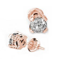 2.0 ctw Certified VS/SI Diamond Stud Earrings 14k Rose Gold