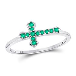Sterling Silver Womens Round Lab-Created Emerald Cross Religious Ring 1/8 Cttw