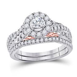 14kt Two-tone Gold Womens Round Diamond Bridal Wedding Engagement Ring Band Set 1.00 Cttw