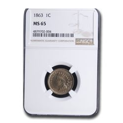 1863 Indian Head Cent MS-65 NGC
