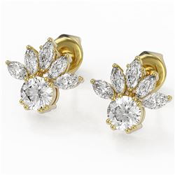 1.75 ctw Diamond Designer Earrings 18K Yellow Gold