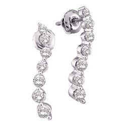10kt White Gold Womens Round Diamond Journey Earrings 1/4 Cttw