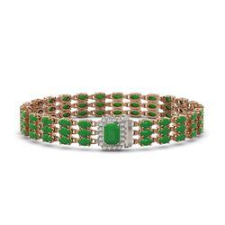 18.41 ctw Jade & Diamond Bracelet 14K Rose Gold