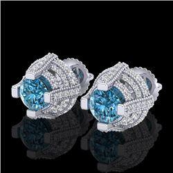 2.75 ctw Fancy Intense Blue Diamond Micro Pave Earrings 18k White Gold