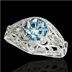 1.36 ctw SI Certified Blue Diamond Solitaire Antique Ring 10k White Gold