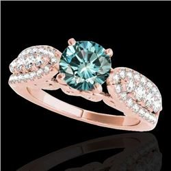2 ctw SI Certified Fancy Blue Diamond Solitaire Ring 10k Rose Gold