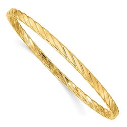14k Yellow Gold 4 mm Textured Bangle - 8.5 in.