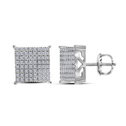 10kt White Gold Womens Round Diamond Square Earrings 1.00 Cttw
