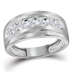 10kt White Gold Mens Round Diamond Wedding Channel-Set Band Ring 1.00 Cttw