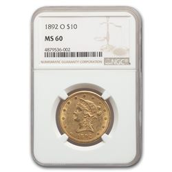 1892-O $10 Liberty Gold Eagle MS-60 NGC