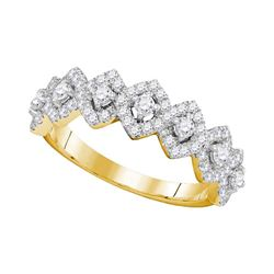 14kt Yellow Gold Womens Round Diamond Diagonal Square Single Row Band 1.00 Cttw