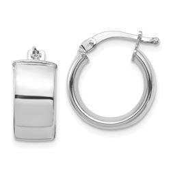 14k White Gold Hoop Earrings - 7x14 mm