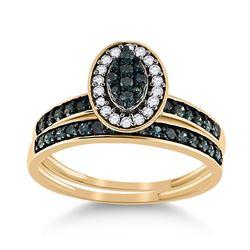 10kt Yellow Gold Round Blue Color Enhanced Diamond Bridal Wedding Engagement Ring Set 1/2 Cttw