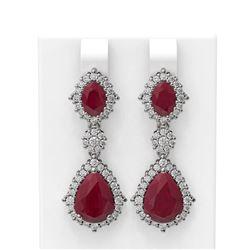 11.32 ctw Ruby & Diamond Earrings 18K White Gold